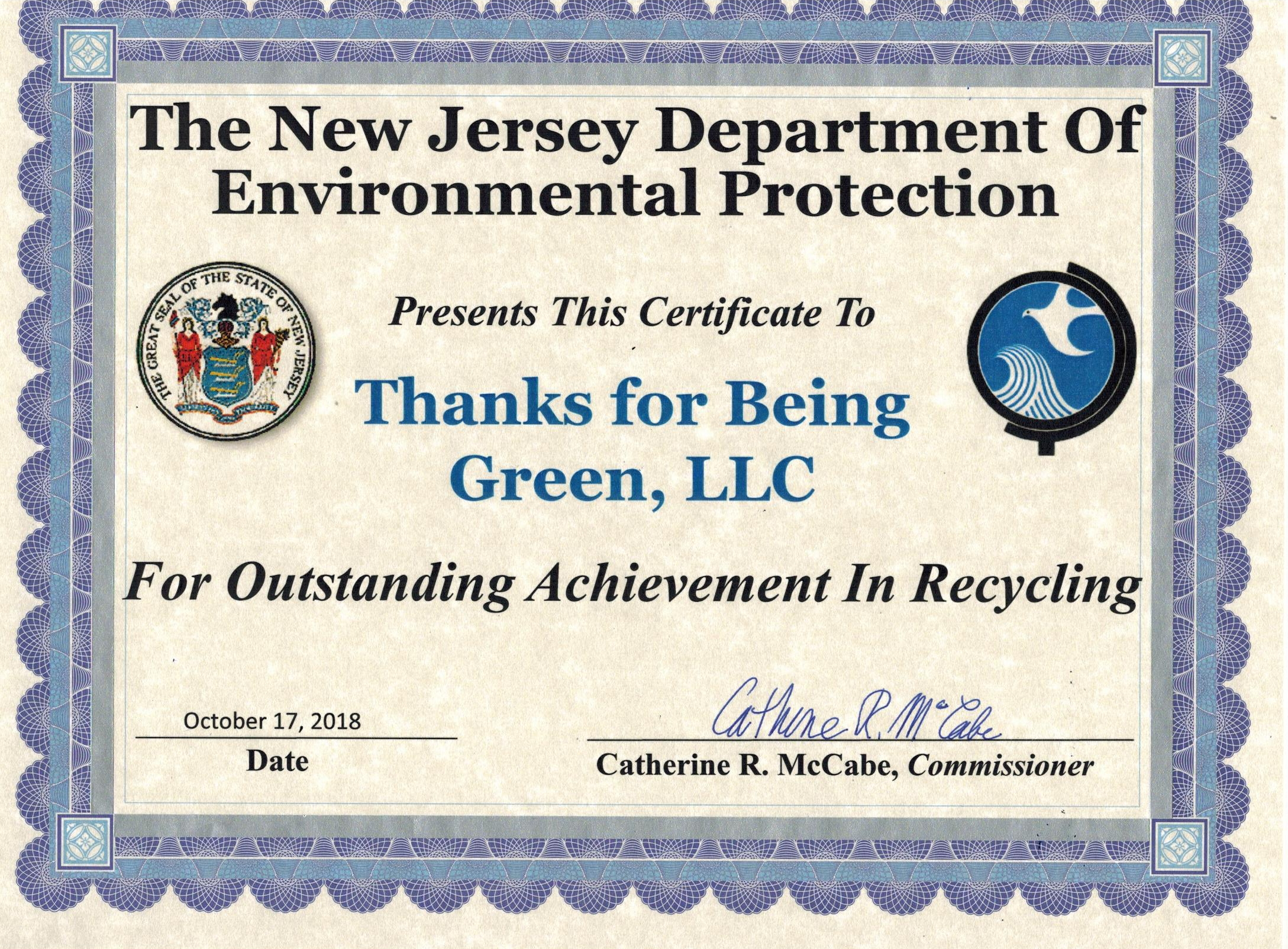 Magnum Recognized By NJ Department of Environmental Protection